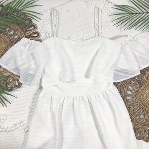 Gianni Bini White Ruffle Cold Shoulder Dress